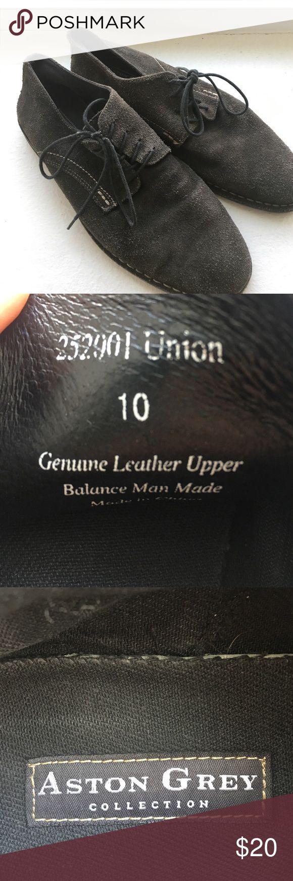Men's Aston Grey suede shoes - size 10 Men's size 10 grey suede dress shoes. Aston Grey Shoes Oxfords & Derbys