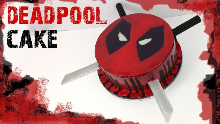 Deadpool cake tutorial! Chocolate ganache drip cake and Deadpool swords out of fondant!