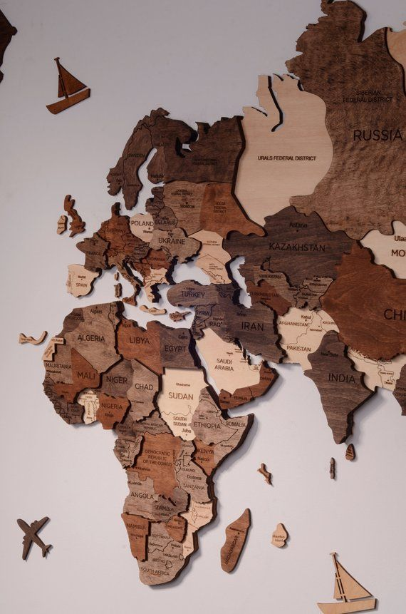 Wooden World Map Of The World Wall Art Decor Home Rustic Travel Push Pins Living…