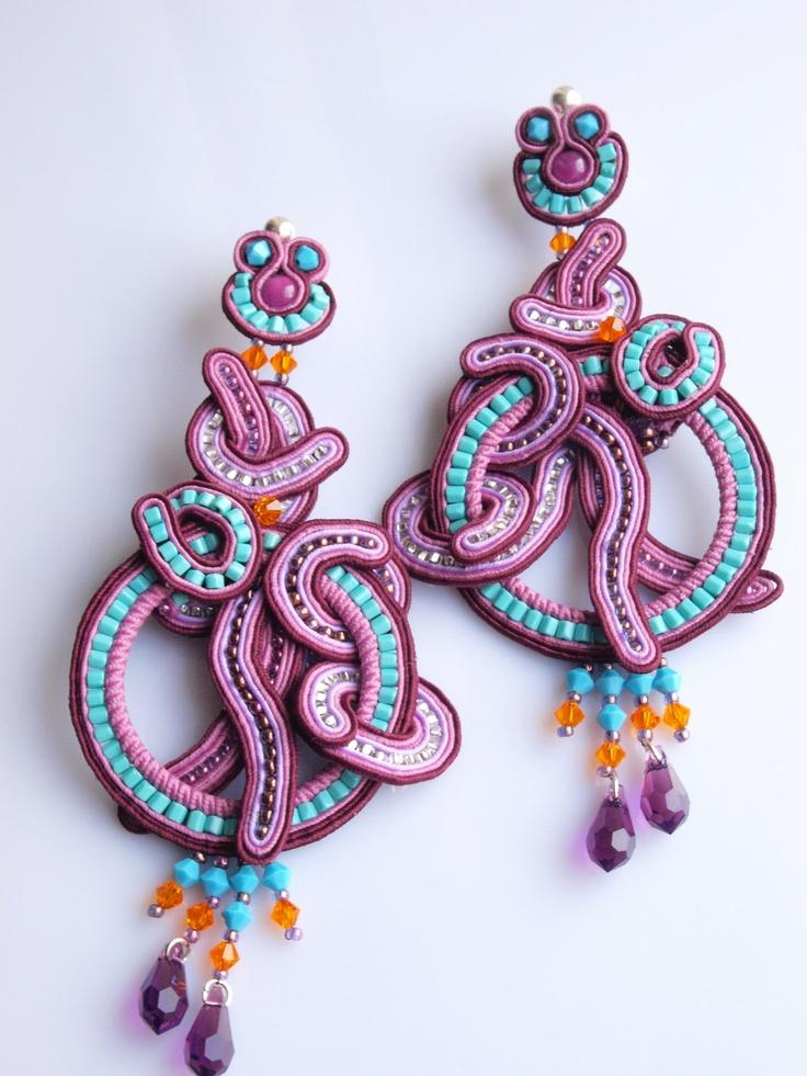 Soutache earrings turquoise colour purple violet SWAROVSKI