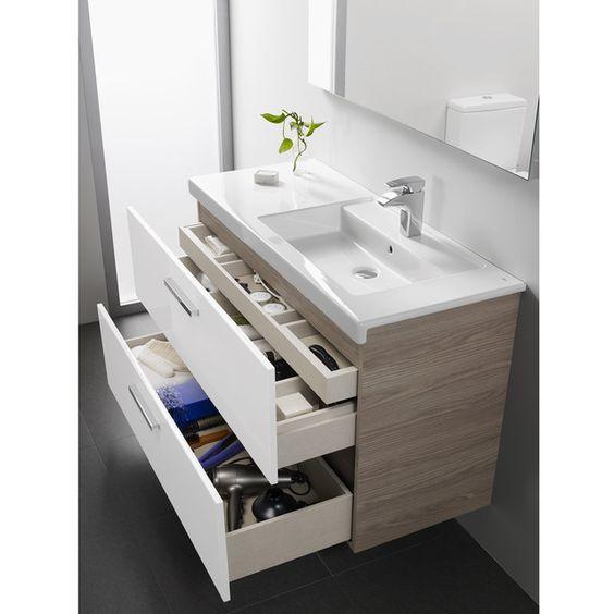 ECI - Conjunto de baño compuesto por mueble formado por 2 cajones de extracción completa con cierre suave y amortiguado más cajón interno oculto, lavabo de porcelana con repisa y espejo led. 90X67X46 1062€