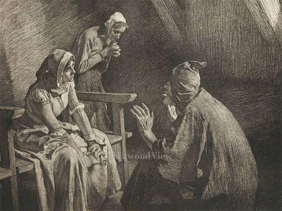 Agnolella Finds a Refuge by Tito Lessi, Antique Italian 10x12 Sepia Engraving c1890s, The Decameron, Giovanni Boccaccio, FREE SHIPPING $11.75