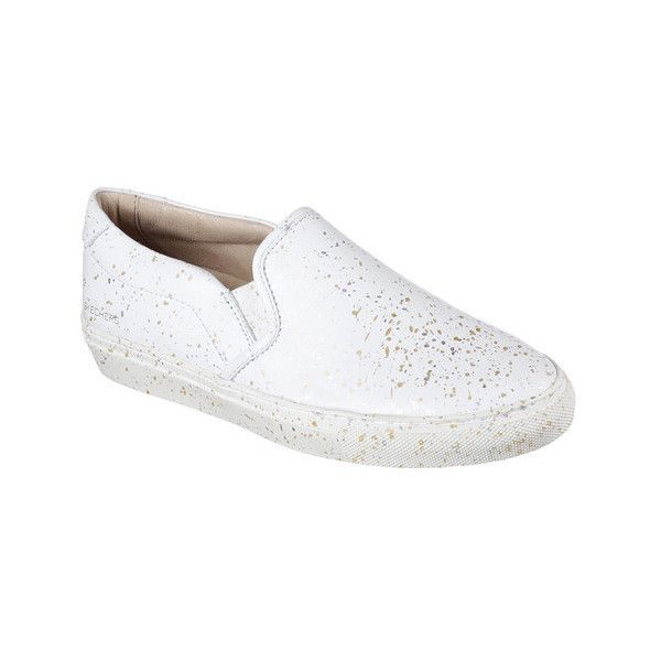Women's Skechers Vaso Gemelo Slip-On Sneaker ($54) ❤ liked on Polyvore featuring shoes, sneakers, casual, slip-on shoes, white, skechers shoes, embellished flats, leather flats, white shoes and white slip on shoes