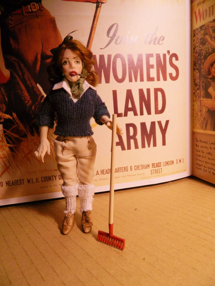 1940's English Land Army girl. Abby is 5.5 inches tall and poseable.