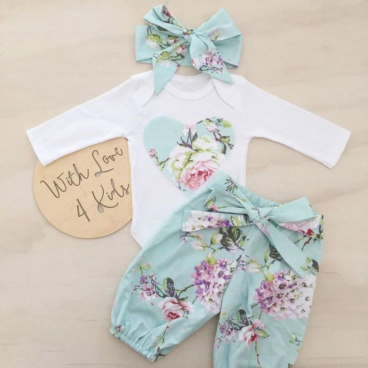 3Pcsborn Kid Baby Girl Floral Clothes Jumpsuit Romper Bodysuit Pants Outfits https://presentbaby.com