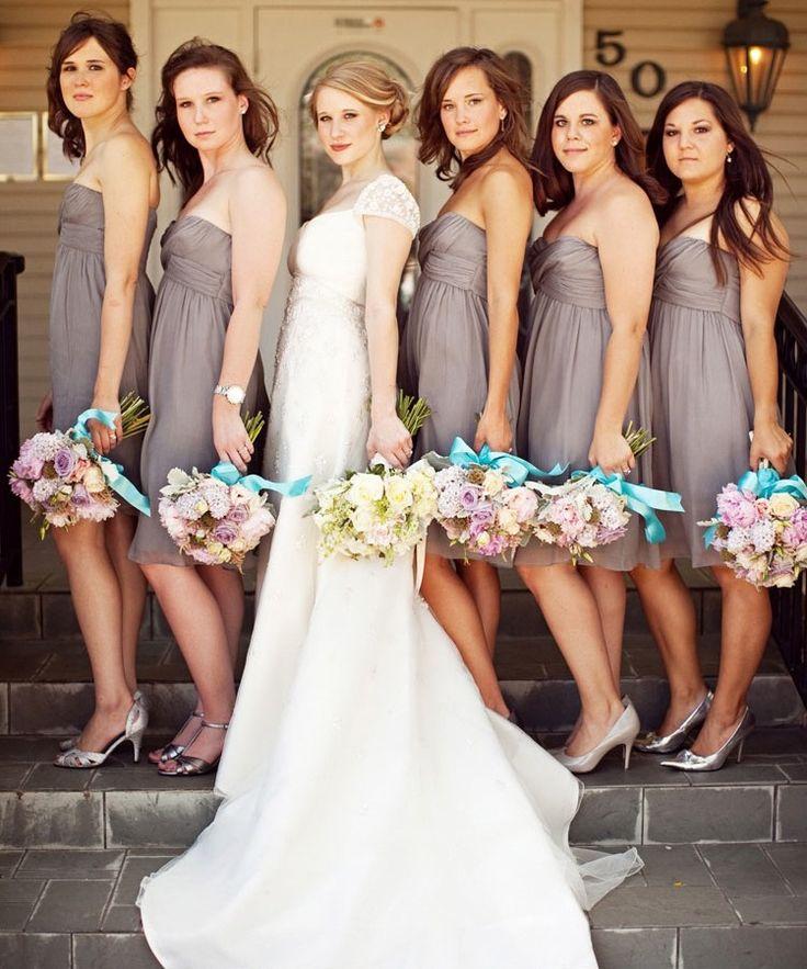 Cute Pose: Sweetest Bridesmaid, Bridesmaid Flowers, Shorts Grey Bridesmaid Dresses, Shorts Bridesmaid Dresses, Colors Schemes, Bridal Parties, Bridesmaid Dresses Colors, The Dresses, Bridesmaid Poses
