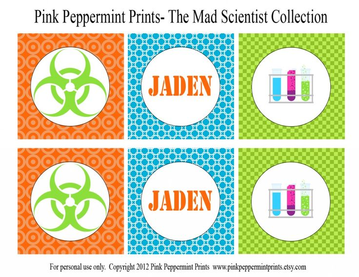mad scientist party circles printable party tagsmad science party scientist party printable invitations blue green and orange party boy birthday party ideas tammy mitchell designs pink peppermint prints