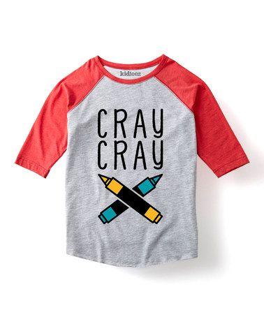 Another great find on #zulily! Heather Gray & Red 'Cray Cray' Raglan Tee - Toddler & Kids #zulilyfinds