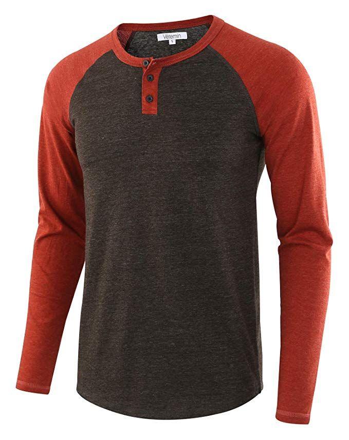 50b8d8da5 Vetemin Men's Casual Vintage Long Sleeve Raglan Henley Shirts Baseball T- Shirt H.Charcoal