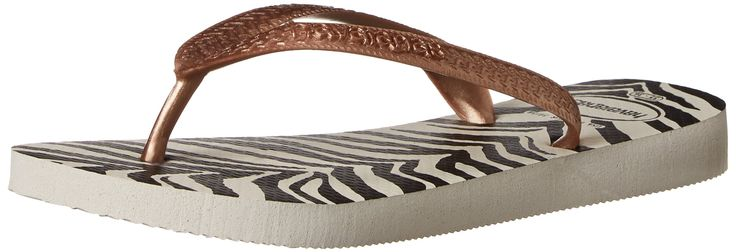 Havaianas Women's Top Animals Flip Flop, White, 35 BR/6 M US. Thong sandal featuring logo-embossed metallic straps and textured animal-pattern footbed.