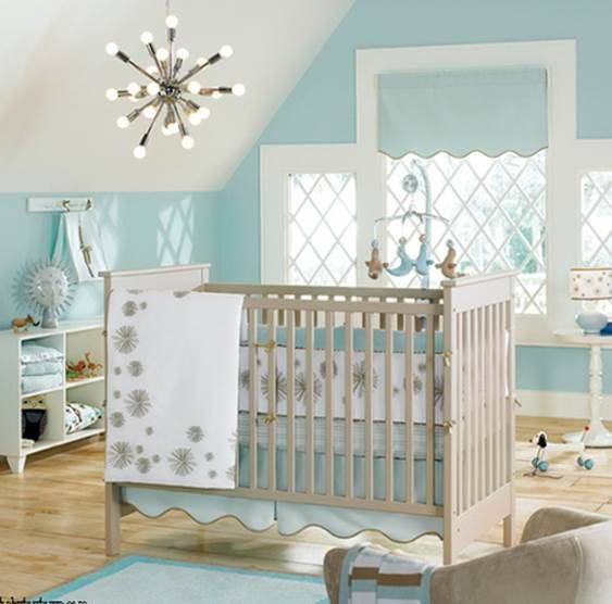 Fabulous Unisex Nursery Decorating Ideas: Baby Girl Room Inspiration. Ocean Theme. Navy Blue, Sea