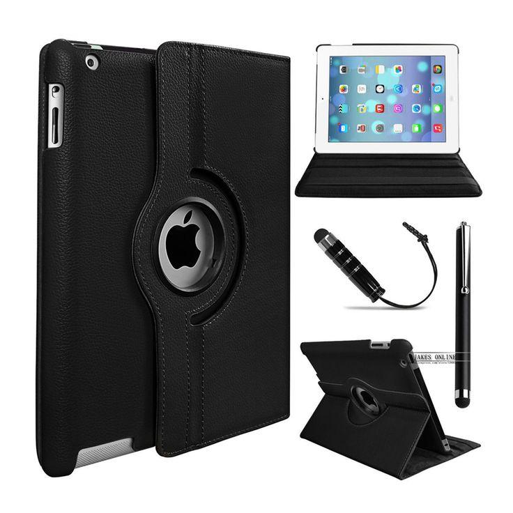 360 rotating case cubierta de cuero premium para apple ipad 2 ipad 3 ipad 4 soporte del tirón smart cover case w/auto estela/Del Sueño