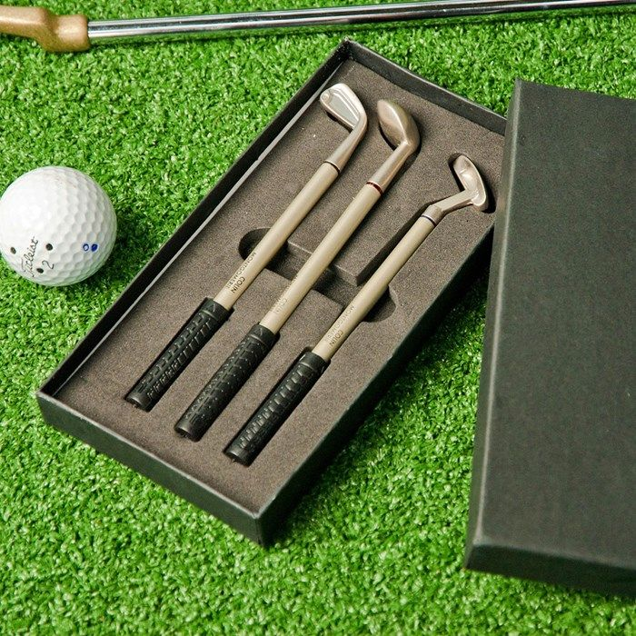 Part of the Colin Montgomerie golf range, this set of 3 pens makes a great gift for a golfer! Designed to resemble golf clubs, there's a putter, wood and iron. Black, blue and red ink. Buy now!