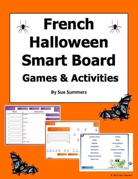 French Halloween Smart Board 6 Games and Activities by Sue Summers