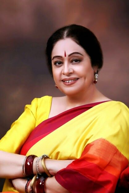 Kirron kher yellow red saree