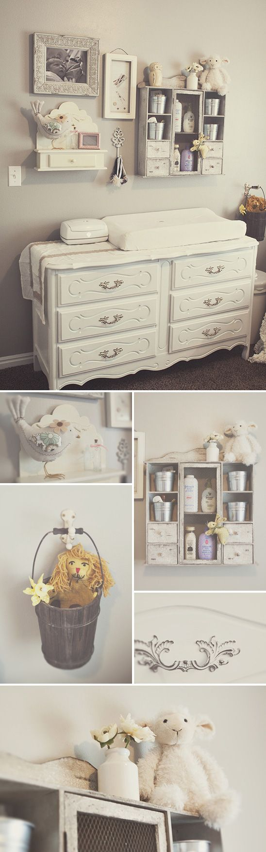 I love the idea of shelving on the wall over the dresser to hold changing equipment. Having buckets to hold the small things you don't use as often or for pacifiers is a cute idea.