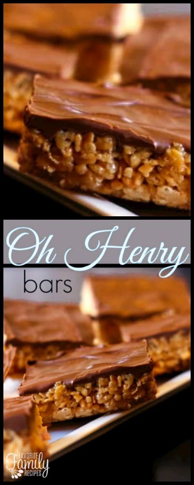 These no-bake Oh Henry Bars, or Scotcharoos, are a favorite treat. A Rice Krispie and peanut butter center is covered with a chocolate butterscotch topping. via @favfamilyrecipz