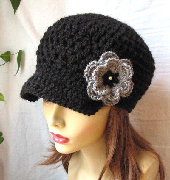 SALE Crochet Womens Hat Teens Newsboy Black por JadeExpressions