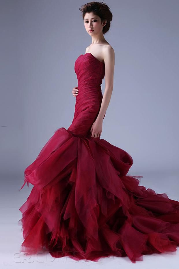 Excellent Mermaid Strapless Casscading Ruffles Chapel Train Color Wedding Dress. #hotred