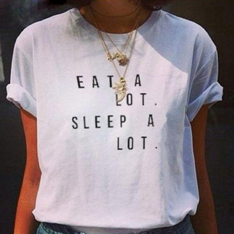 Stylish Jewel Neck Short Sleeve Letter Pattern T-Shirt For Women T-Shirts | RoseGal.com