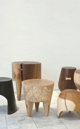 KIERAN KINSELLA works out of his one-man studio in upstate New York. Using fallen trees from around the studio, he turns and carves walnut, oak, ash and maple into side tables and stools. Using a handful of different forms, each stool remains unique to the characteristic of the natural material. Also available is a new collection of cast porcelain stumps in oxidation glazes.