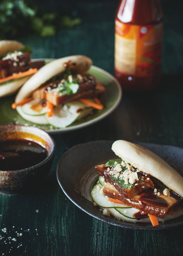 Braised Pork Belly Gua Bao with Sweet Chilli Garlic Reduction Sauce, Pickled Cucumber, Carrot and Peanuts