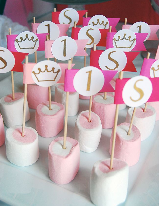 Princess theme birthday party - pink and white strawberry flavored marshmallows