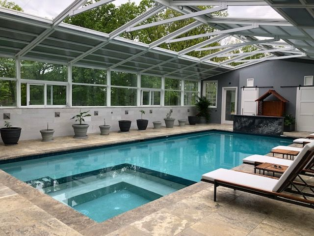 Residential Retractable Pool Enclosure South Brunswick Nj America S Leading Custom Manufacturer Of Retractable Enclosure And Roof Systems Pool Pool Enclosures Residential Pool