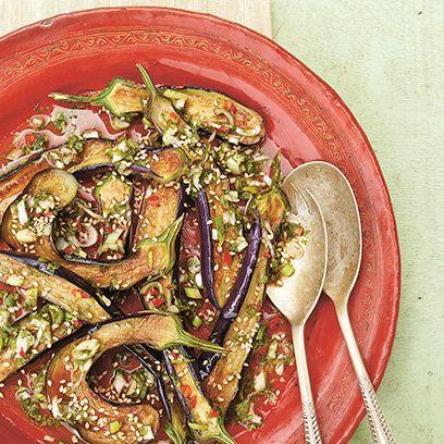 Marinated aubergine recipe. For the full recipe, click the picture or ...