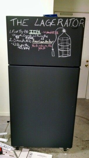Found a free fridge, and painted in chalkboard paint. Enter the Lagerator. Total cost:11$ including chalk.