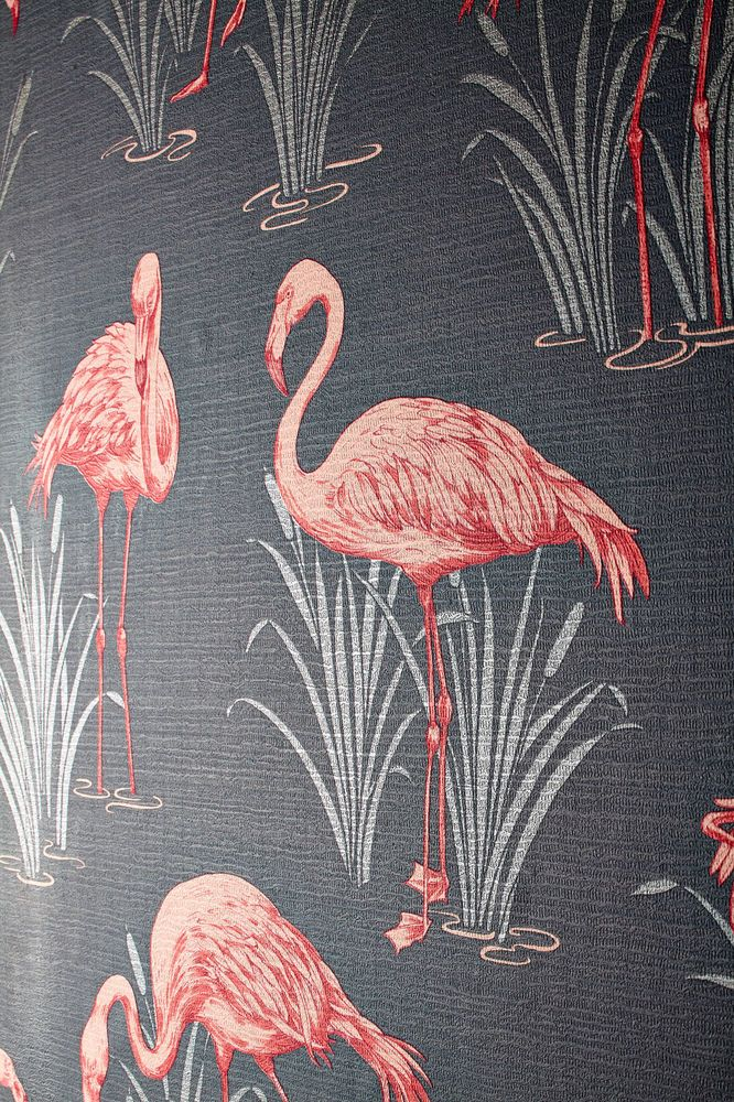 Grey & Coral Pink Arthouse Lagoon Flamingo Vintage Luxury Wallpaper (eBay)