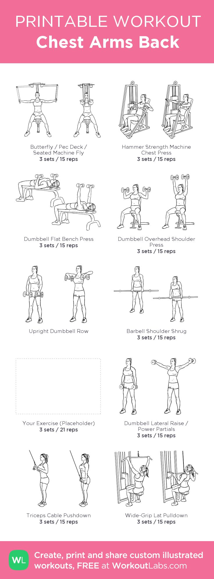 Chest Arms Back: my visual workout created at WorkoutLabs.com • Click through to customize and download as a FREE PDF! #customworkout