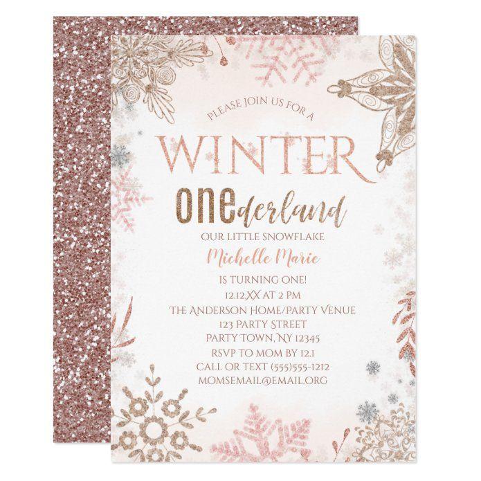 Winter Onederland 1st Birthday Pink Snowflake Invitation Zazzle Com Winter Onederland Birthday Party Snowflake Invitations Winter Onederland Birthday