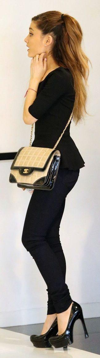 #PRETTY pointers: 1) black pumps, 2) black leggings, 3) black peplum top, 4) black trim purse, and 5) black ponytail holder // black on black on black... Ariana Grande style
