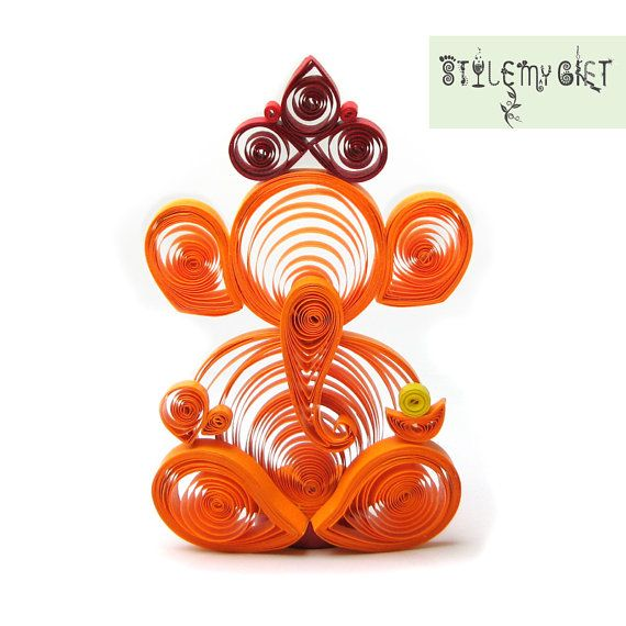 Lord Ganesha Paper Quilled Giftable by StyleMyGift on Etsy