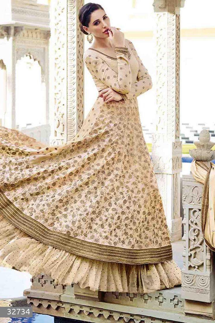 Nargis Fakhri - Cream Faux Georgette Anarkali Suit with Embroidered and Lace Work - Z2570P32734-1 #designer #salwar #kameez @ http://zohraa.com/salwar-kameez.html #zohraa #onlineshop #womensfashion #womenswear #bollywood #look #diva #party #shopping #online #beautiful #salwar #kameez #beauty #glam #shoppingonline #styles #stylish #model #fashionista #women #lifestyle #girls #anarkali #suit #nargisfakhri