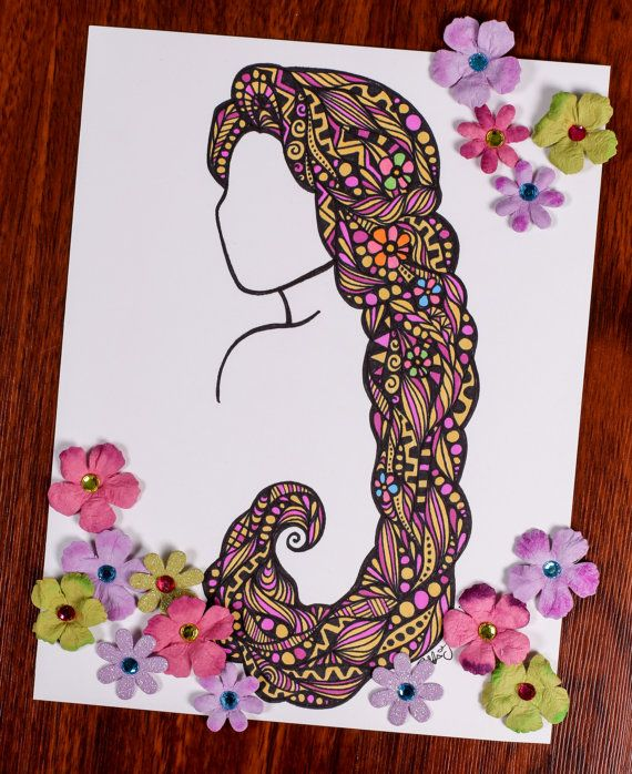 Zentangle Miles Long Hair by ZenspireDesigns on Etsy