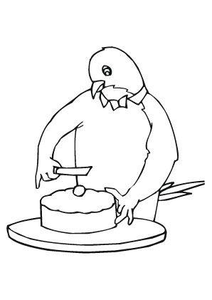 ausmalbild vogel schneidet kuchen an zum ausmalen. #