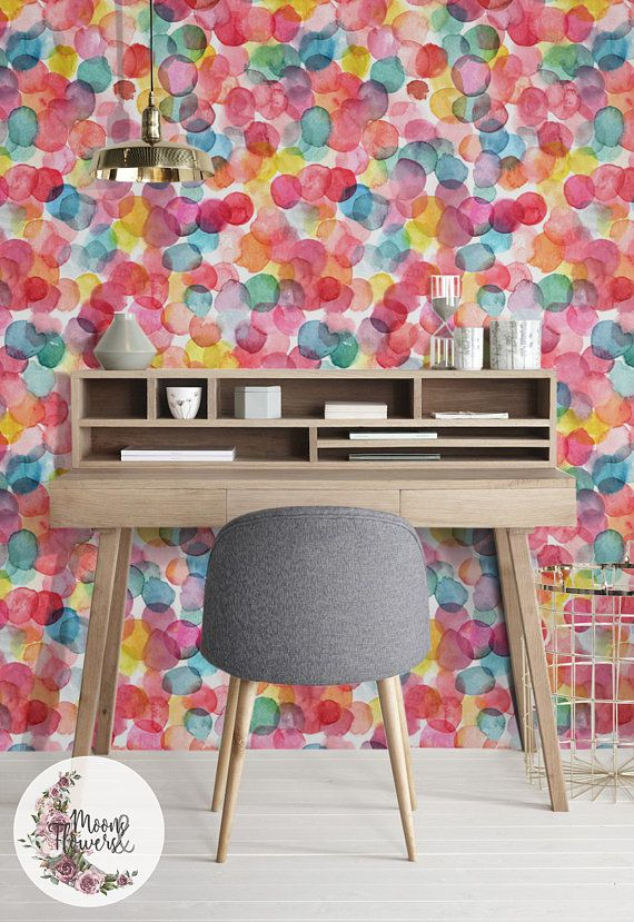 Colorful Bubbles Removable Wallpaper Watercolor Wall Mural Splash Wall Decor Removable Reusable Peel And Stick Repositionable Maf127 Removable Wallpaper Bubbles Wallpaper Wall Murals