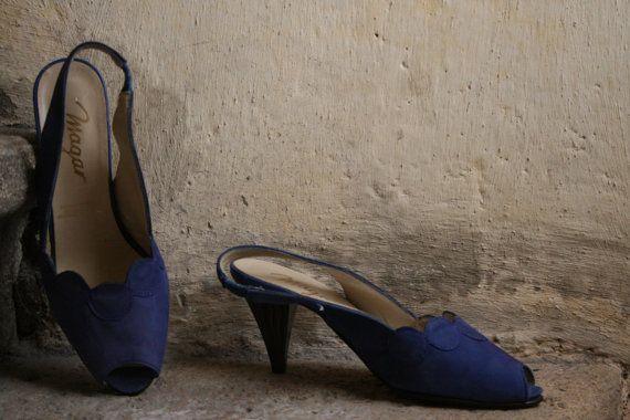 VENDITE * massa francese blu cobalto pompe di tacchi sandali in camoscio con peeptoe slingback cerchio dettagli e particolari di onda su tacchi 37