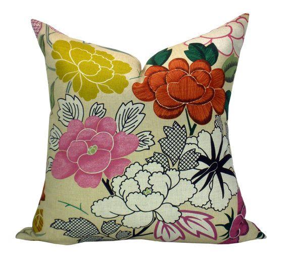 This listing is for one Misia Multicolore pillow cover.      DESCRIPTION  Designer: Manuel Canovas  Colors: Mauve, crimson, fuchsia, green, mustard,