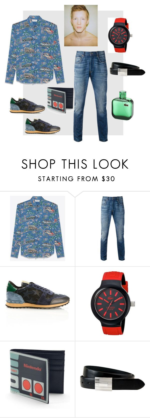 menlook by malishevan on Polyvore featuring Yves Saint Laurent, Levi's, Valentino, Lacoste, Nintendo, The British Belt Company, men's fashion and menswear