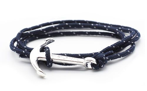 The Conrad Navy Blue Silver Anchor Rope Bracelet