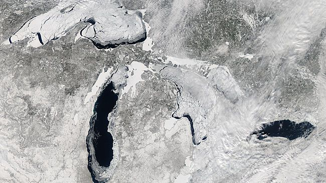 This image, acquired by the Moderate Resolution Imaging Spectroradiometer (MODIS) on NASA's Aqua satellite, shows the Great Lakes on Feb. 19, 2014, when ice covered 80.3 percent of the lakes.
