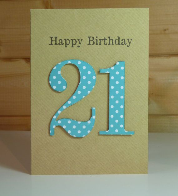 Delightful handmade 21st birthday card by Wishfelt on Etsy, £2.00