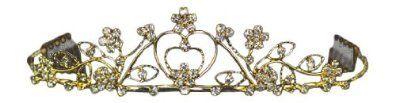 Gold Herz Blumen Kristall Strass Braut Hochzeit Abschlussball Tiara Diadem (15cm x 3cm) mit PreciousBags Schutz-Staubbeutel - http://schmuckhaus.online/preciousyou/gold-herz-blumen-kristall-strass-braut-hochzeit-x