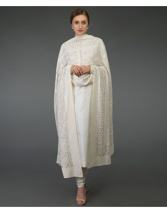 581e3b56e3 Cream Chikankari Kamdani & Gota Patti Work Dupatta with Suit in 2019 ...