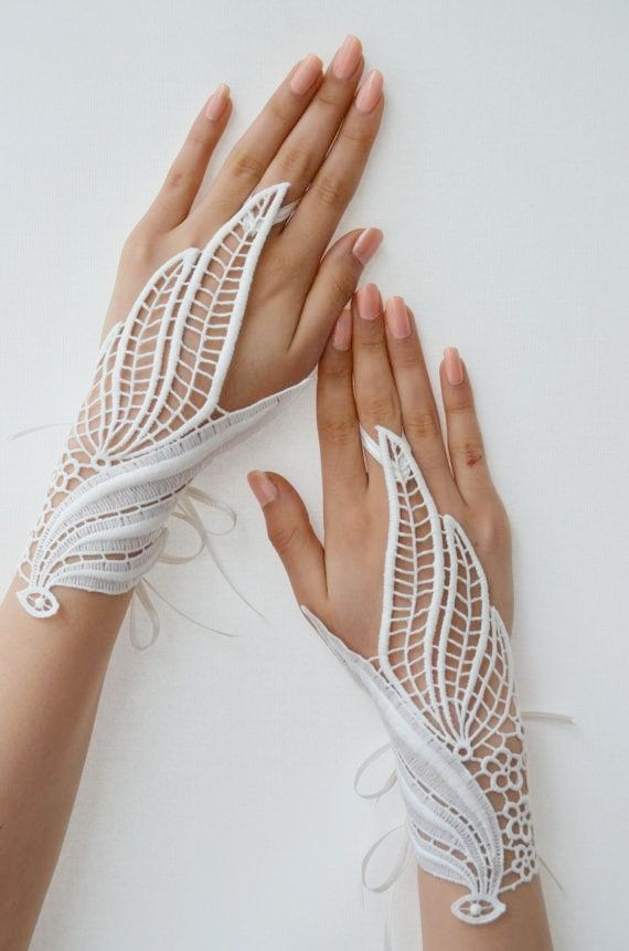 White Lace Wedding Gloves