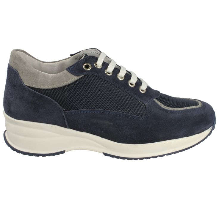 Sneakers zeppa camoscio blu