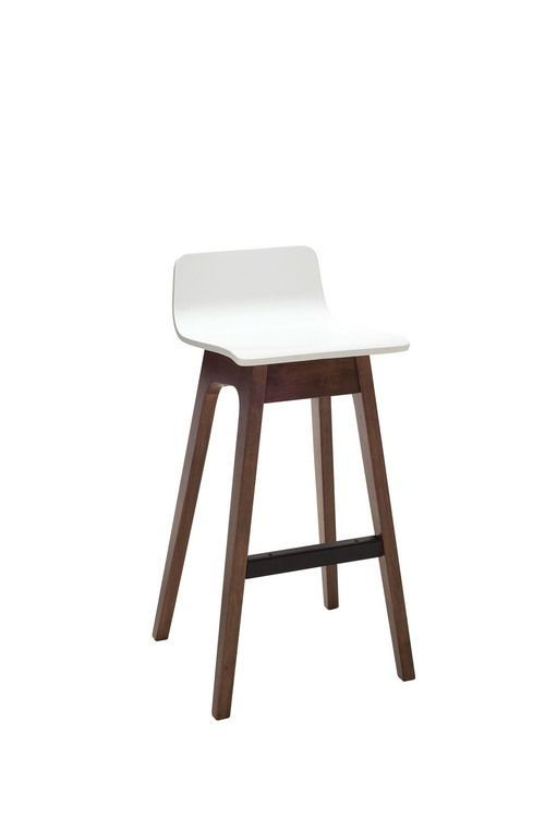 Agnes Low Back Barstool in White Lacquer on Walnut